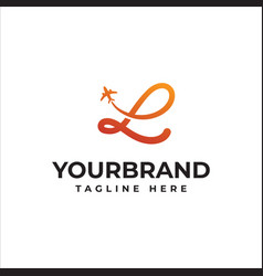 L letter travel logo airline business travel logo vector