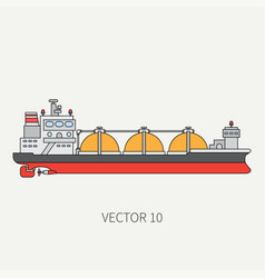 Line flat color icon ocean tanker ship vector