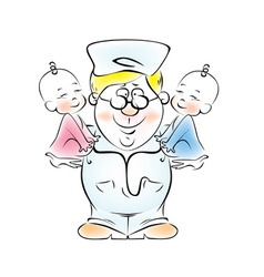 Man with two babies vector