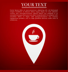 Map pointer with hot coffee cup icon isolated vector