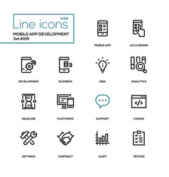 mobile app development - modern line design icons vector image
