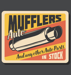 mufflers car spare parts banner vector image