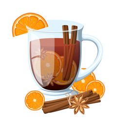Mulled wine with orange slice and cinnamon stick vector