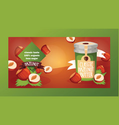nut nutshell of hazelnut with butter chocolate vector image