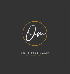 O m om initial letter handwriting and signature vector