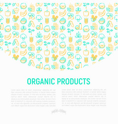 Organic products concept with thin line icons vector
