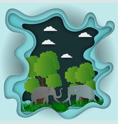 paper carve to landscape with elephant and tree vector image