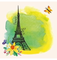 Paris Eiffel towerWatercolor spotNarcissus vector