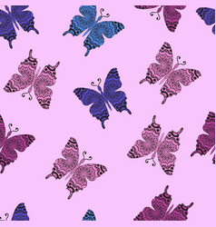 pattern with ornamental butterflies vector image