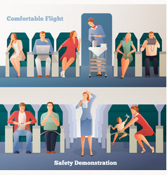 People in airplane horizontal banners vector