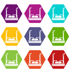 power plant icons set 9 vector image