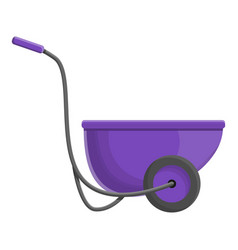 purple wheelbarrow icon cartoon style vector image