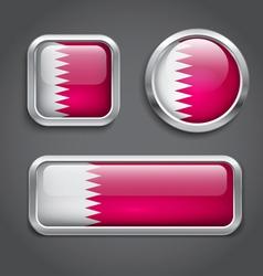 Qatar flag glass buttons vector