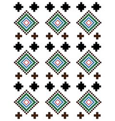 Red green brown rural geometric ornament vector