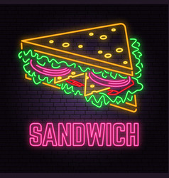 Retro neon sandwich sign on brick wall background vector