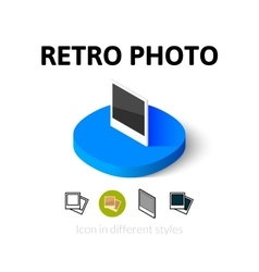 Retro photo icon in different style vector image