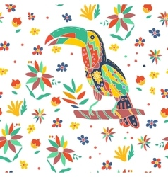seamless summer tropical pattern with bird vector image