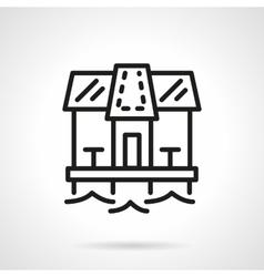 Seashore cafe simple line icon vector image