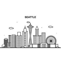 seattle city tour cityscape skyline line outline vector image