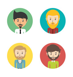 set avatars men of different diversity inside vector image