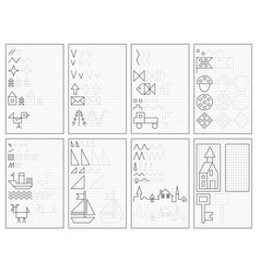 Set black and white educational pages vector