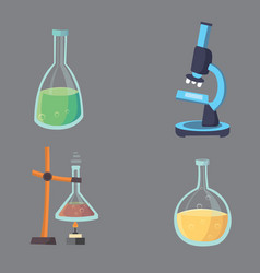 set - chemical test flat design chemistry vector image