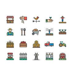 Set farming flat color line icons farmer vector