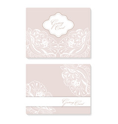 set invitation card with lace decoration for vector image
