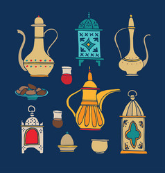 Set of hand drawn iftar dinner icons arabic vector