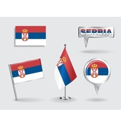 Set of serbian pin icon and map pointer flags vector