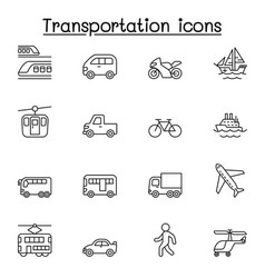 set public transport related line icons vector image