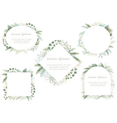 Set watercolor botanical frames vector