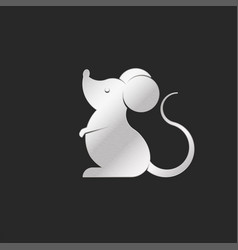 silhouette cartoon metal rat logo or mouse emblem vector image