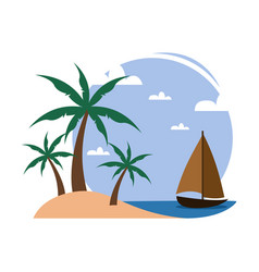 simple beach palm trees small boat travel island vector image