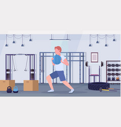 sporty man doing crossfit exercises running with vector image