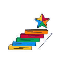 Steps up to star doodle drawn hand vector