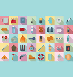 Survival icons set flat style vector