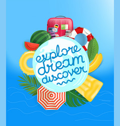 travel concept with calligraphic logo and summer vector image