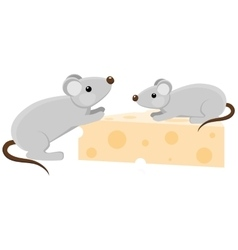 Two cartoon mouses with a piece of cheese vector image