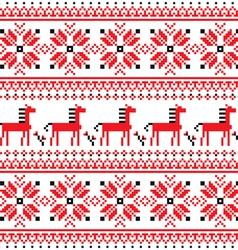 Ukrainian folk art embroidery horse pattern vector