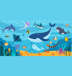 underwater world with floating sea animals and vector image