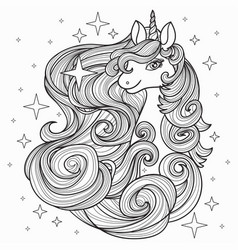 unicorn with a long mane hand drawn vector image