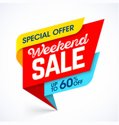 Weekend sale special offer advertising banner vector