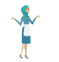 young muslim confused cleaner with spread arms vector image
