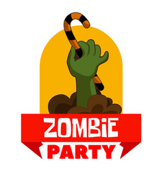 zombie party logo cartoon style vector image