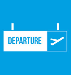 Airport departure sign icon white vector