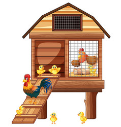 chicken coop with many chicks vector image vector image
