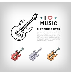 Electric guitar isolated line art icon Music vector image