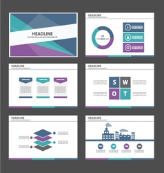 green blue purple presentation temaplates set vector image vector image