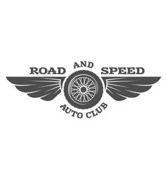 Wheel and wings vintage car emblem badge vector image
